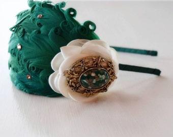 Emerald and Ivory Headband - Feather Headband - Vintage Jewelry Headband - Gold Adult Headband - Emerald Wedding - Fancy Headbands - Bows