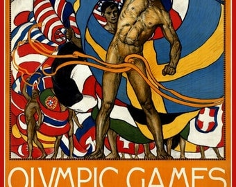 Olympics Stockholm Sweden 1912 Poster Print.