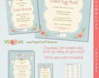 Easter Invitation | Easter Egg Hunt Invitation | Easter Brunch Invite | INSTANT DOWNLOAD & Edit in Adobe Reader | Printable Invite Flyer