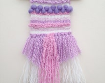 Small Handmade Weave Wall Hanging Woven Nursery Decor Tassels Baby Girl Pink Purple Weaving Loom