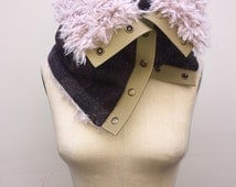Luxurious Faux Yak Fur with Purple and Metallic Gold Tweed Cowl Neck Scarf