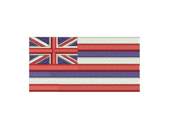 Machine Embroidery Design Instant Download -  Hawaii Flag United States of Amerca USA