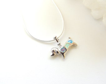 Opal Dachshund Sausage Weiner Dog Girls Necklaces, Opal Jewelry, Dog Necklace, Colorful Opal Necklace, Teen Tween Gift. B318