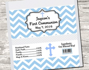 First Communion Blue Chevron Candy Bar Chocolate Bar Wrappers Favor Print Your Own