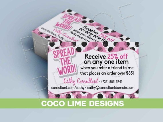 Spread the word referral cards business card by for Damsel in defense business cards