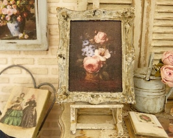 Miniature frame in metal, 19th century painting vase ao flowers on a black background, Accessory for a French dollhouse, 1:12th scale