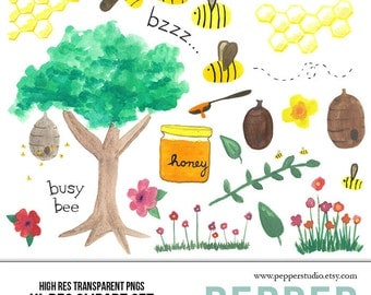 INSTANT DOWNLOAD - Honey Bee Watercolor Illustration Clipart, Hi Res Printable Hand Painted Doodles, for blogs, scrapbooks, Transparent PNGs