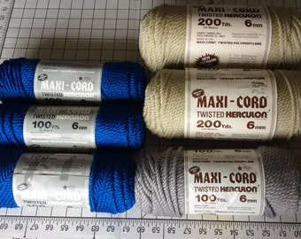 6mm Macramé Cord Royal Blue Beige Grey Gray DIY High Gloss Macramé Cord Size 0 Cord Made in USA