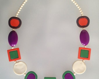 Vtg MOD SPACE AGE Dynamic Art Piece Runway Statement Necklace 1960s 1970s - Excellent Condition !
