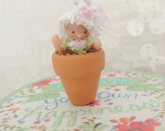 SALE EASTER BUNNY in Clay Flower pot Wee Miniature Figurine