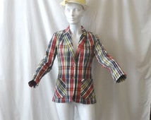 1970s Vintage MJ Concepts In Sportswear Lined Madras Plaid Blazer or Jacket in Red, Navy & Yellow, Size Small to Medium, Vintage Clothing