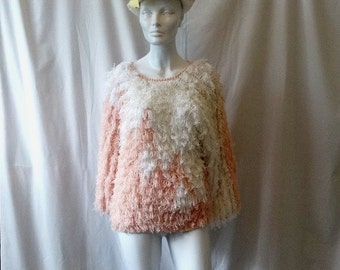 1980s Vintage Shaggy Sweater by Sideeffects in Pink & White, Hand Crocheted in Taiwan, Acrylic, 1980s Shaggy Dog Look, Vintage Clothing, Sm