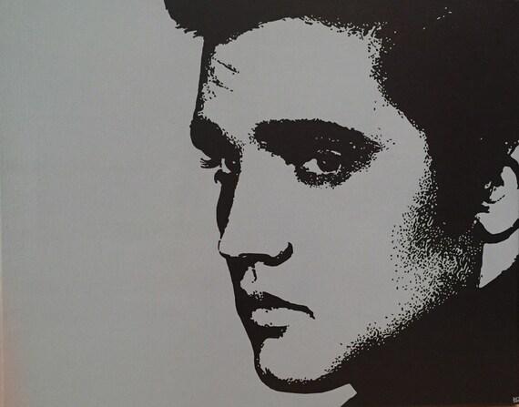"Elvis Presley Custom Pop Art Painting Portrait 16""x20"" Canvas"