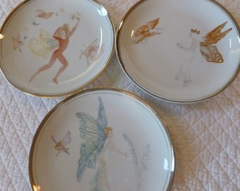 Set of 3 Vintage Handpainted Fairy Themed Plates~~~Winged Butterfly Faerie~~Fairy Godmother~~Painted by Ruth Wells 1970's~~Whimsical Plates