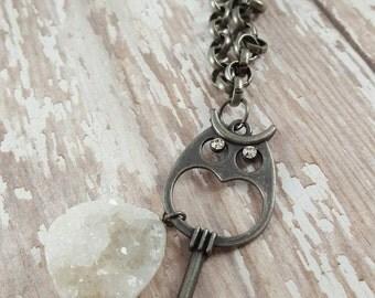 Barn Owl - Skeleton Key - Long Necklace - Key Necklace - Ornate Key - Brass Necklace - Boho Jewelry - Hippie Jewelry - Hipster Jewelry