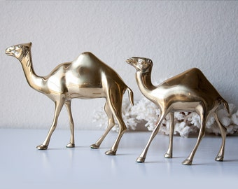Vintage brass camels pair gold metal camel statues figurines