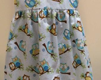 Summer Top, Girls Sleeveless Summer Top, Owl Design Fabric,