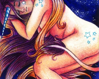 In a bed of Stars - ACEO - ORIGINAL