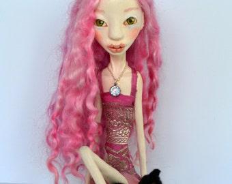 OOAK Art Doll, Sculpted Paper Clay Art Doll, Handmade Doll, Wensleydale Wool Pink Hair Doll, GRACIE