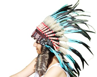 N55- Light Blue / Turquoise and dark Feather Headdress / Warbonnet.