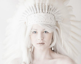 PRICE REDUCED N81- Medium White Feather Headdress / Standard size 23 inch head circumference