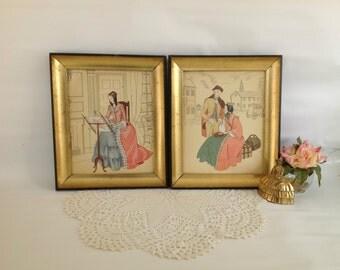 Vintage Pair of Boudoir Framed Pictures, Vintage Regency Framed Prints, Vintage Colonial Prints,