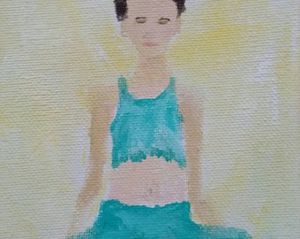 """Linen Notecard-""""Mantra""""-Woman-Yoga-Meditate-Contemporary Impressionism by L.M.Sanders"""