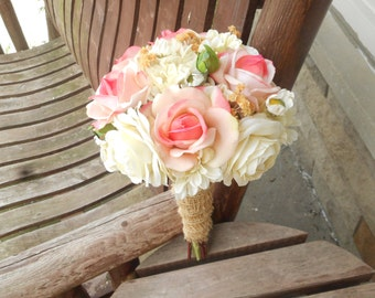 pink rose and champagne rustic wedding bouquet silk bridal bouquet silk wedding flowers