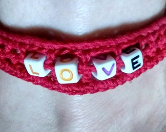 FINISHED ITEM: Spell it Out! Beaded & Crocheted Ankle Bracelet