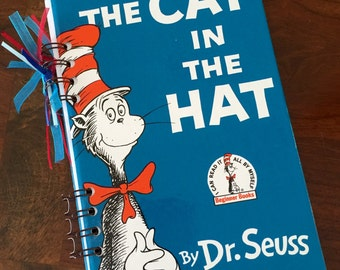 Dr. Seuss The Cat in the Hat - Journal Autograph Book - Upcycled Book - Recycled Notebook - Upcycled Journal