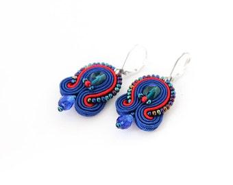 Blue red earrings, drop soutache earrings, blue beaded earrings , soutache jewelry, small blue earrings, blue crystal earrings