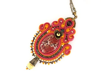 Pink indian style pendant, soutache pendant, pink pendant, pink orange necklace, oriental jewelry, oriental pendant, soutache jewelry