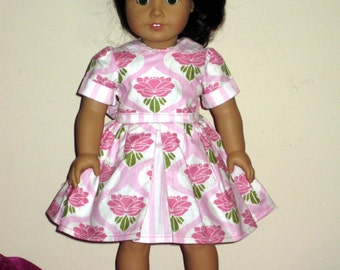 American Girl 1950s Pink and White School Dress