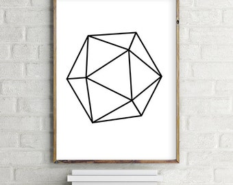 Geometric Black & White icosahedron Printable Wall Art Download. Minimalist contemporary poster (various sizes) Gallery Wall Print
