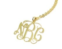 """Monogram Necklace Initial 2"""" Personalized - Sterling silver 925 Plated 18k gold. gift for sister girlfriend bff, monogram gifts"""