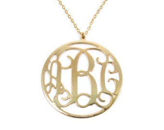 Gold 14k Monogram pendent . Personalized Initial necklace. Monogram necklace. Personalized pendend. Gold monogram necklace. Gifts