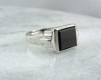 Sleek Men's Black Onyx Statement Ring P3X3MC-N
