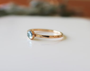 14k Gold Ring, Aqua Maring Gold Stacking Ring, Gold Gemstone Ring, Gold Solitaire Ring, Wedding Ring, Minimalist Jewelry, Thin Ring