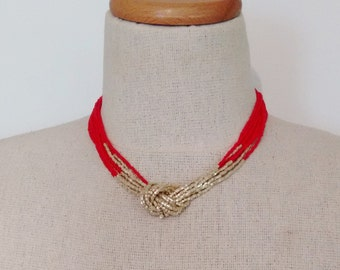 Red and gold necklace, seed bead necklace,knot necklace,red and gold,beaded necklace, choker,multistrand necklace,bridesmaid gift,christmas