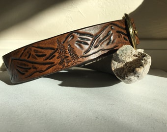 Leather dog collar with mountain landscape design tooled stained in brown