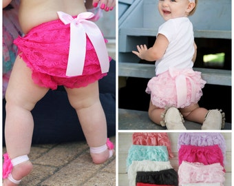 Lace Bloomers...Baby Diaper Cover...Lace Diaper Cover...Ruffle Bloomers...Baby Lace Shorts...CHOOSE YOUR COLORS...Cake Smash...Lace Shorts