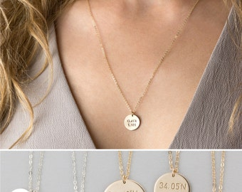 Custom Coordinates Disc Necklace • Latitude & Longitude Circle Charms • Dainty GPS Location Necklace • Hand Stamped Personalization • LN200