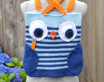 Crocheted Owl Book Bag Ready to Ship