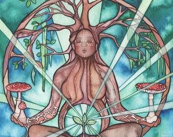 SEED MAMA - 5 x 7 print of beautiful watercolour Earth Mother, sacred divine medicine woman tree of life seedling tree woman mycelium