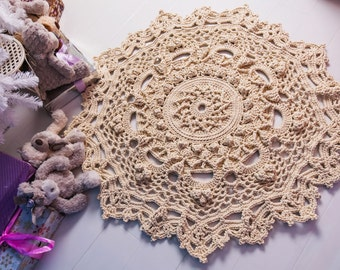 """Doily rug, round area rug (45 in), crochet rug, yarn lace mat, cottage nursery carpet, rustic floor decor by LaceMats """"LaceJasmine"""""""