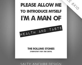 8x10 Printable Word Art - The Rolling Stones - Sympathy for the Devil / Black - Printable PDF