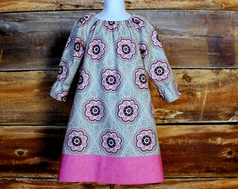 Grey & Pink Peasant Dress - Newborn to Child Size 10 - Easter dress baby infant toddler kid girls spring summer dress matching headband gray