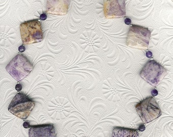 Diamond Head - Purple Flower Jasper, Amethyst, Freshwater Pearls, Sterling Silver