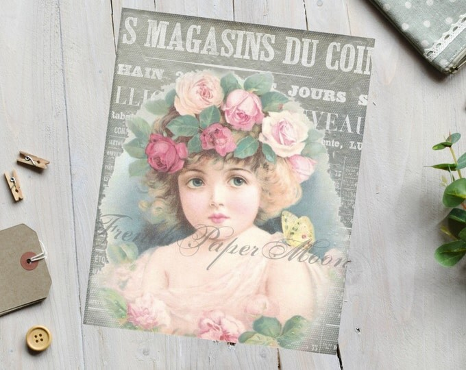 Shabby Chic Victorian Girl with Roses, French Collage Download, Large Image, Instant Download Printable, French Pillow Image