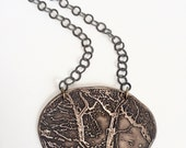 Etched Bronze Oak Trees Parting on Bronze Chain